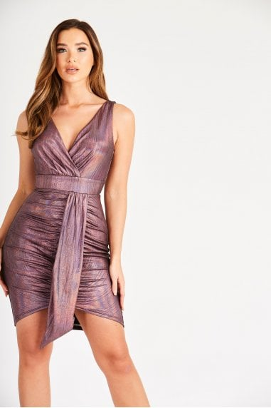 Purple Mini Dress with Front Panel