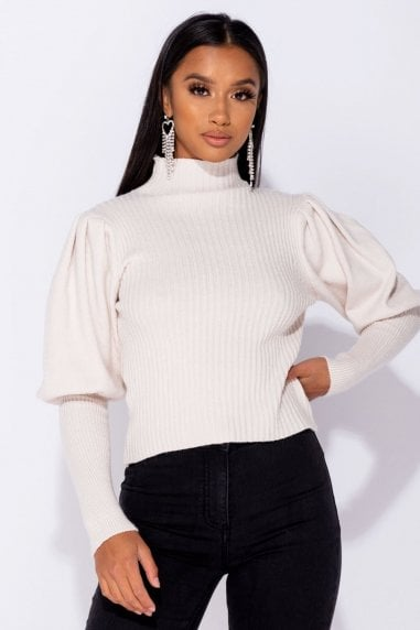 Beige Puff Sleeve High Neck Jumper