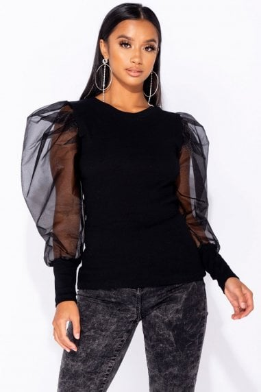 Black Organza Sheer Puff Long Sleeve Top