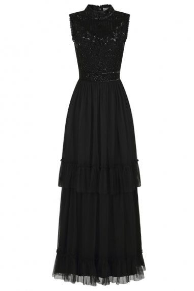 Faith Black Tiered Skirt Embellished Dress
