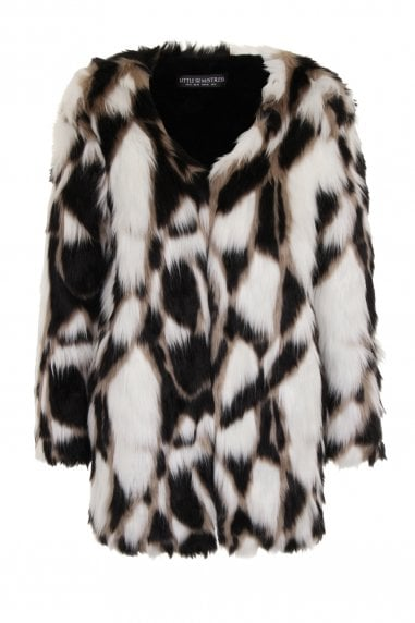 Monochrome Patchwork Faux Fur Jacket