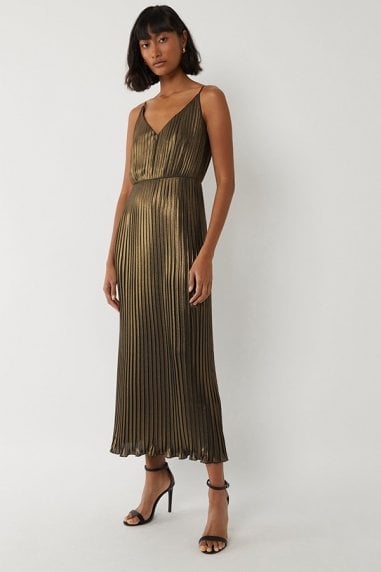 PLEATED FOIL MIDI DRESS