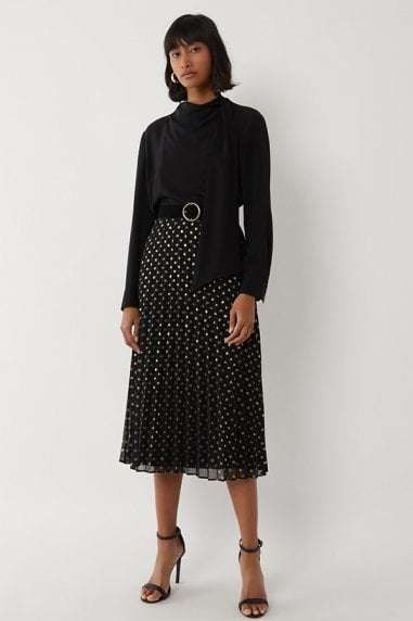 FOIL SPOT PLEATED MIDI SKIRT