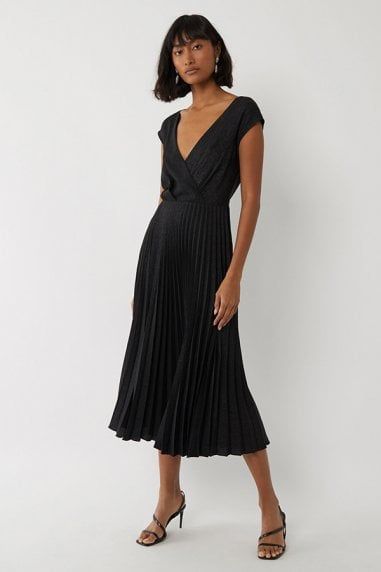 COWL BACK PLEATED DRESS