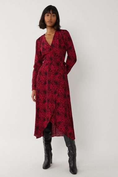 RED LEOPARD WRAP MIDI DRESS