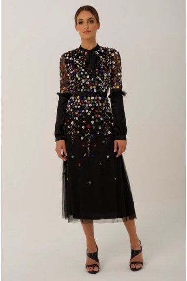 Black Multi Coloured Embellished Midi Dress