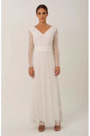 White V Neck Gown with Sheer Sleeve