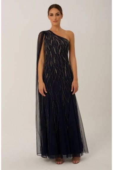 Navy One Shoulder Gown