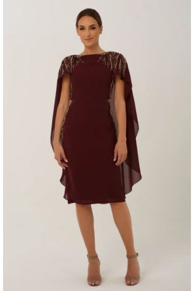 Burgundy Cape with Embellishment Midi Dress