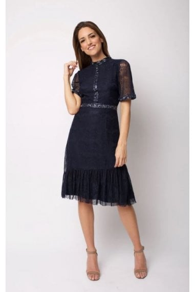 Navy Midi Dress In with Beaded Neck Detail