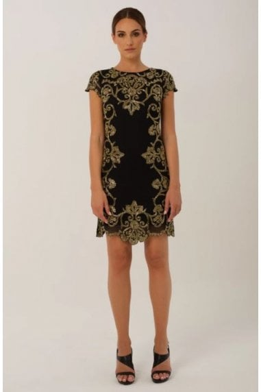 Black Midi Dress with Gold Embriodery