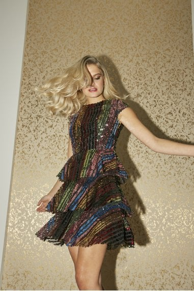 Trixie Rainbow Sequin Tiered Shift Dress