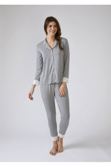 Lace Modal Pyjama Set - Grey