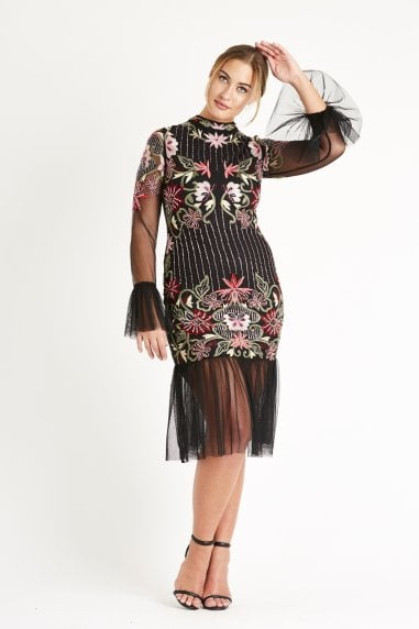 Lace & Beads embroidered mesh midi dress with intircate hand embellishment