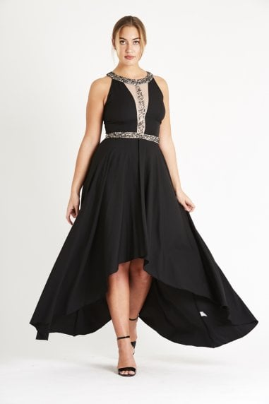 Lace & Beads assymetic maxi dress with mesh and embellished bodice detailing