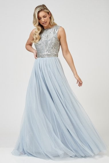 Lace & Beads hand embellished open back maxi with tulle skirt