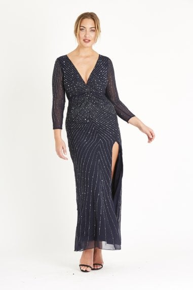 Lace & Beads hand embellished twist front maxi dress with deep V neckline and a side slit