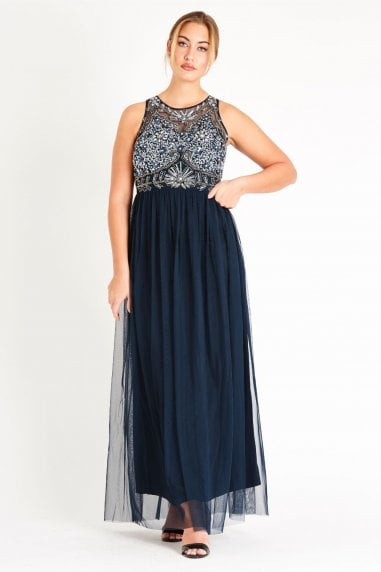 Lace & Beads hand embellished maxi dress with mesh skirt