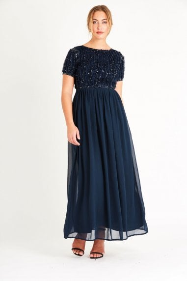 Lace & Beads ruffle detailed short sleeve maxi dress with an open back