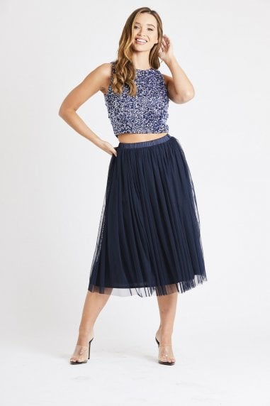 Lace & Beads tulle pleated style skirt with a satin elasticated waistband