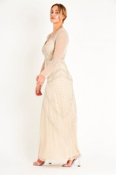 Lace & Beads long sleeve hand embellished maxi dress