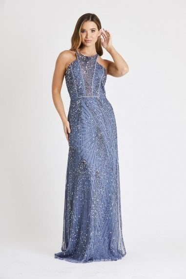 Lace & Beads halterneck hand embellished maxi dress