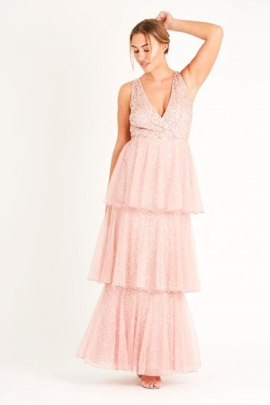 Lace & Beads deep V sequin Maxi with a soft mesh layered skirt