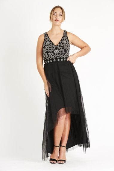 Lace & Beads deep V embellished Maxi with a high low skirt and mesh overlay