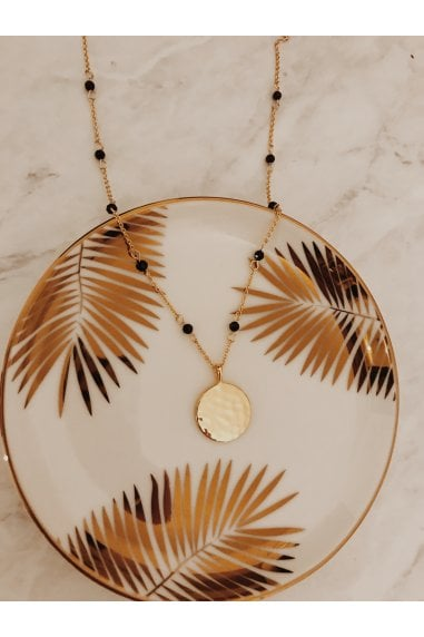 Blue Sandstone & Gold Plated Disc Necklace