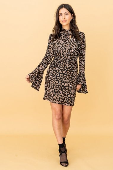Long Sleeve Pussy-Bow Dress in Leopard Print