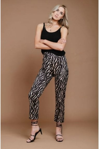 Tiger Print Mid Waist Trousers