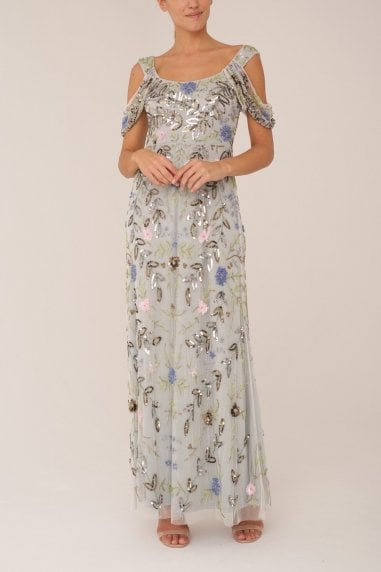 Pale Blue Embrioded Gown