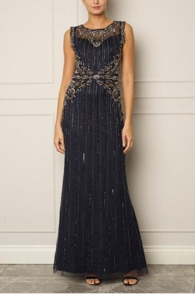 Sleeveless Navy Gown