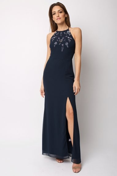 Navy Maxi Dress In with Halter Neck and Slit