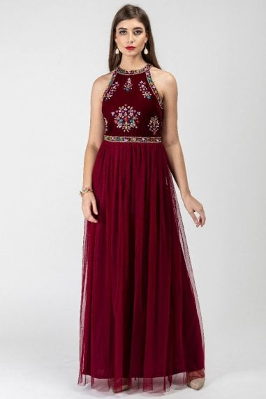 Matilda Velvet Halter Neck Maxi Dress in Wine