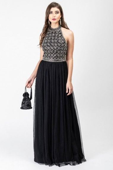 Selena Drop Waist Halter Neck Maxi Dress in Black Silver