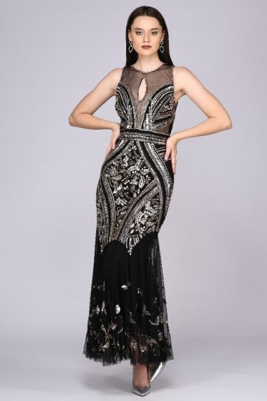 Sharon Illusion Neckline Backless Maxi Dress in Black