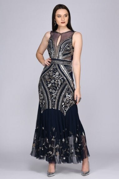 Sharon Illusion Neckline Backless Maxi Dress in Navy
