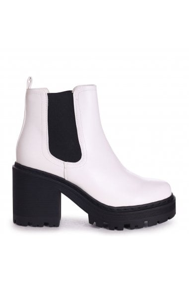 LEAH - White Nappa Extreme Chunky Chelsea Style Boot With Heavy Cleated Sole