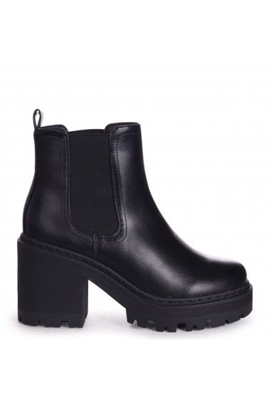 LEAH - Black Nappa Extreme Chunky Chelsea Style Boot With Heavy Cleated Sole
