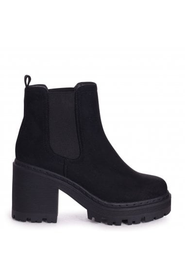 LEAH - Black Suede Extreme Chunky Chelsea Style Boot With Heavy Cleated Sole