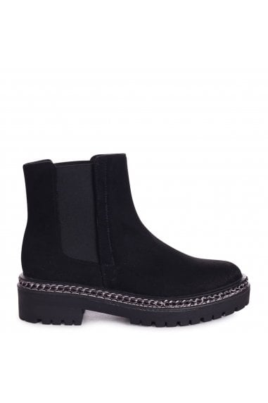 SOLO - Black Suede Classic Chelsea Boot With Chain Detail