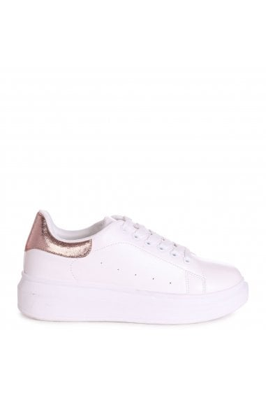 CHYNA - White Nappa Platform Trainer With Rose Gold Back