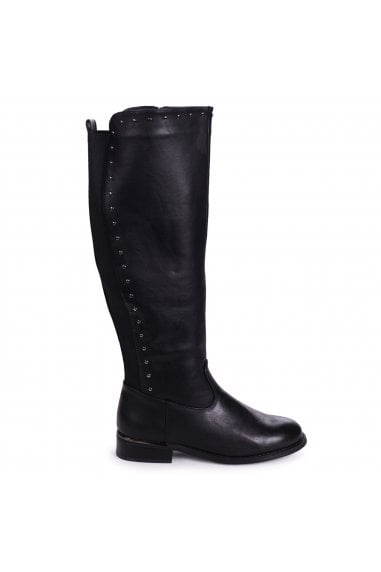 JOAN - Black Nappa Knee High Boot with Stud Detailing