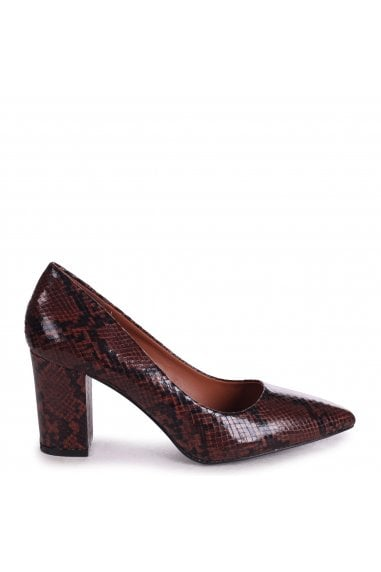 BAMBA - Brown Snake Nappa Block Heel Court Shoe