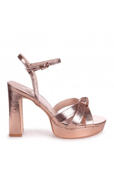 SIMONE - Rose Gold Crinkle Faux Leather Platform With Knot Front Straps & Sandal Back