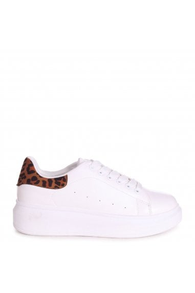CHYNA - White Nappa Platform Trainer With Leopard Back