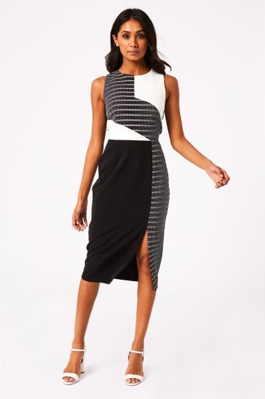 Volpe Monochrome Colour Block Midi Pencil Dress