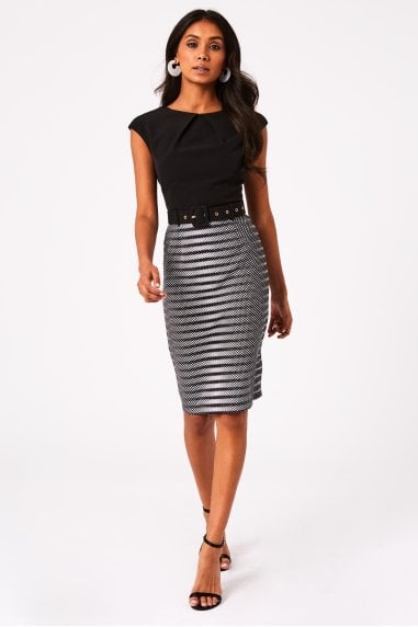 Maida Monochrome Belted Pencil Dress