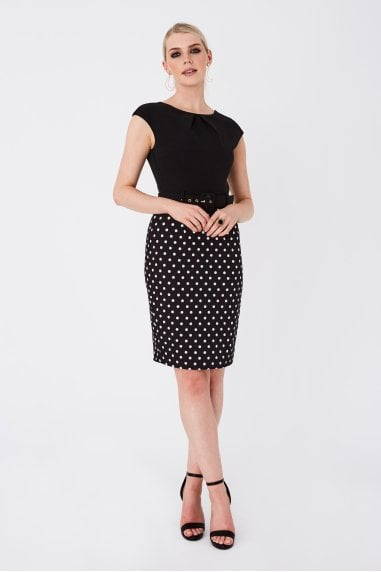Maida Black Polka-Dot Belted Pencil Dress